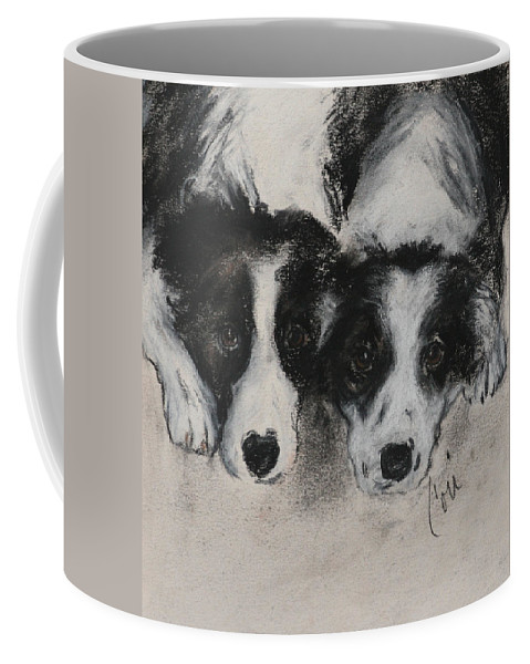 Border Collie Coffee Mug featuring the drawing On The Border by Cori Solomon