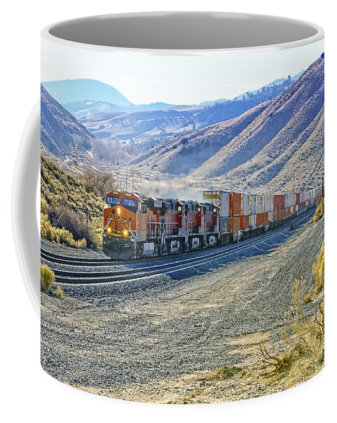 Bnsf Coffee Mug featuring the photograph On The Downside by Jim Thompson