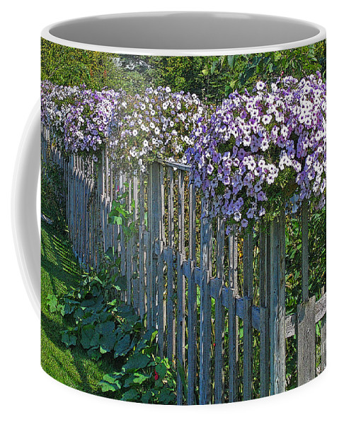 Petunia Coffee Mug featuring the photograph On The Fence by Ann Horn