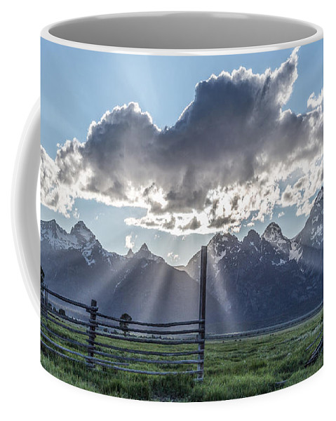 Horizontal Coffee Mug featuring the photograph On The Fence by Jon Glaser