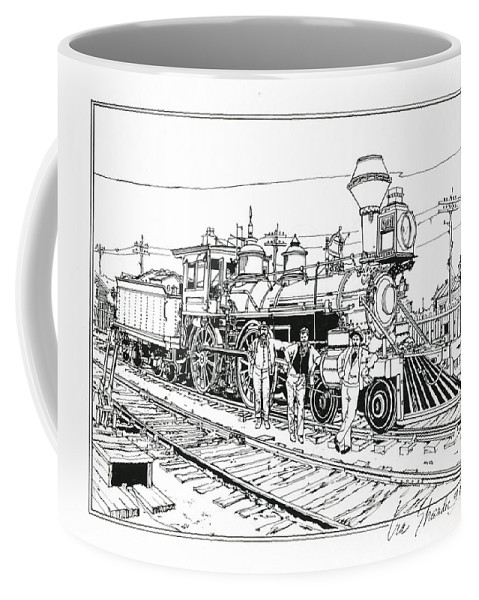Trains Coffee Mug featuring the drawing On The Old Pennsy by Ira Shander