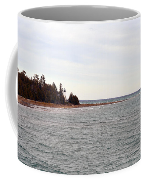Presque Isle Coffee Mug featuring the photograph On The Point by Linda Kerkau