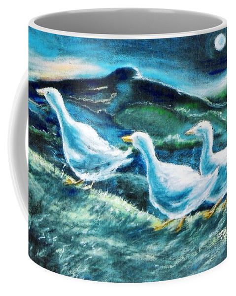 Pastel Painting Coffee Mug featuring the painting On The Run By Moonlight by Trudi Doyle