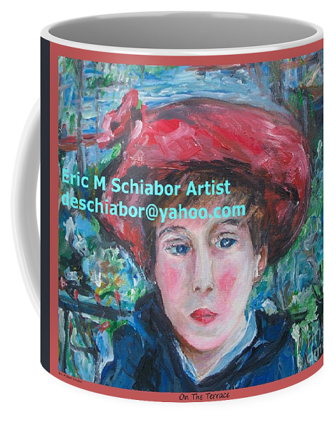 Coffee Mug featuring the painting On The Terrace by Eric Schiabor