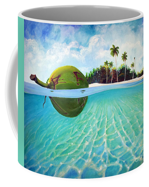 Coconut Coffee Mug featuring the painting On The Way by Jose Manuel Abraham
