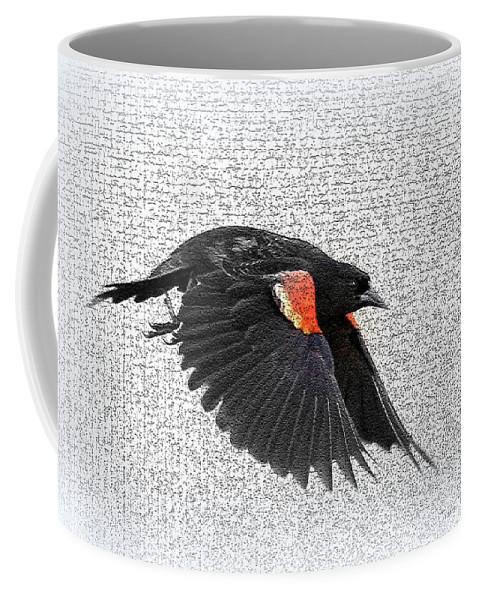 Red-winged Blackbird Coffee Mug featuring the photograph On The Wing - Red-winged Blackbird by Travis Truelove