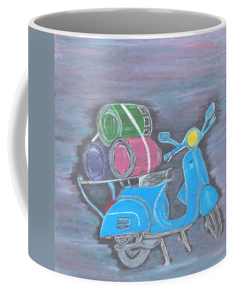 Scooter Coffee Mug featuring the painting Once Upon A Time In India.. by Surbhi Grover