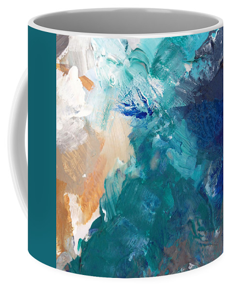 Abstract Painting Coffee Mug featuring the painting On A Summer Breeze- Contemporary Abstract Art by Linda Woods