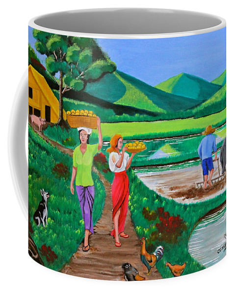 Carabao Coffee Mug featuring the painting One Beautiful Morning In The Farm by Cyril Maza