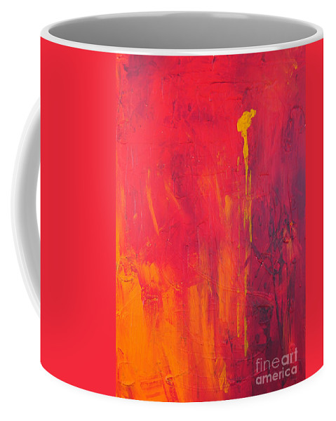 Yellow Coffee Mug featuring the painting One Big Coverup by Paulette B Wright