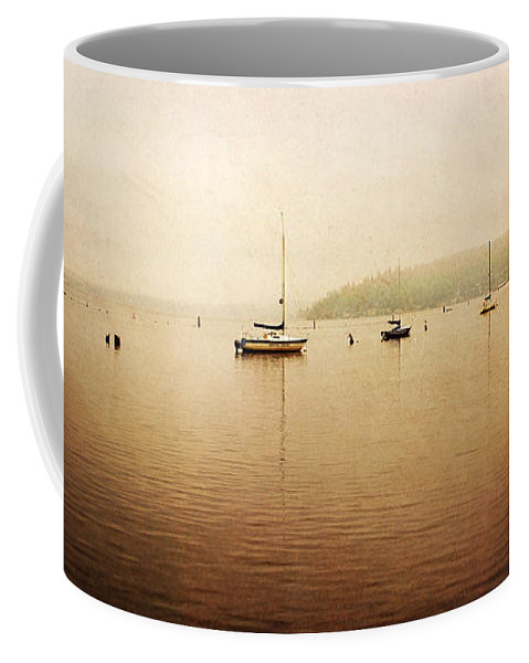Boats Coffee Mug featuring the photograph One Foggy Morning by Sylvia Cook