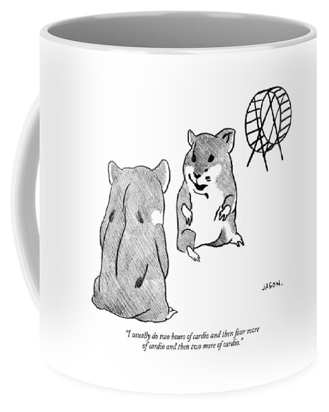Fitness Gerbils Talking Hamster Coffee Mug featuring the drawing One Gerbil To Another by Jason Polan