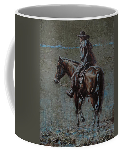 Cowboys Coffee Mug featuring the painting One Last Look by Mia DeLode