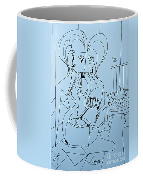 Doodle Coffee Mug featuring the painting One More Time - Doodle by James Lavott