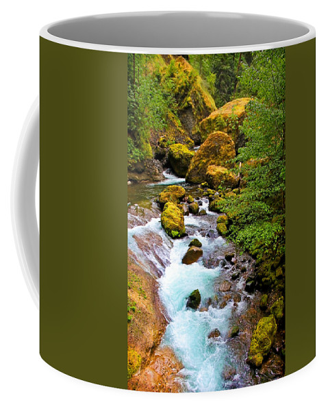 Wahclella Falls Coffee Mug featuring the photograph Opal Rivers by Athena Mckinzie