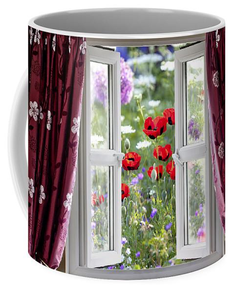 Gardening Coffee Mug featuring the photograph Open Window View Onto Wild Flower Garden by Simon Bratt Photography LRPS