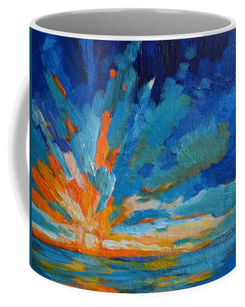 Landscape Coffee Mug featuring the painting Orange Blue Sunset Landscape by Patricia Awapara