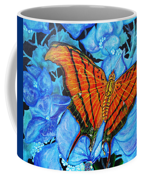 Butterfly Coffee Mug featuring the painting Orange Butterfly by Debbie Chamberlin