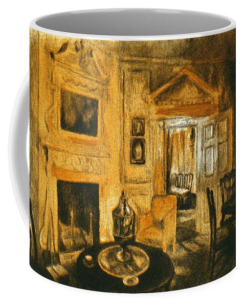Kendall Kessler Coffee Mug featuring the drawing Orange Light At Mount Vernon by Kendall Kessler
