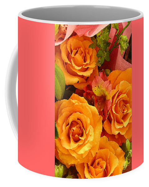 Roses Coffee Mug featuring the painting Orange Roses by Amy Vangsgard