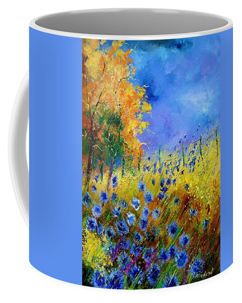 Poppies Coffee Mug featuring the painting Orange tree and blue cornflowers by Pol Ledent