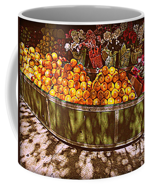 Fruitstand Coffee Mug featuring the photograph Oranges And Flowers by Miriam Danar