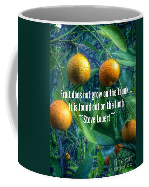 Oranges On A Limb Quote Coffee Mug featuring the photograph Oranges On A Limb Quote  by Susan Garren