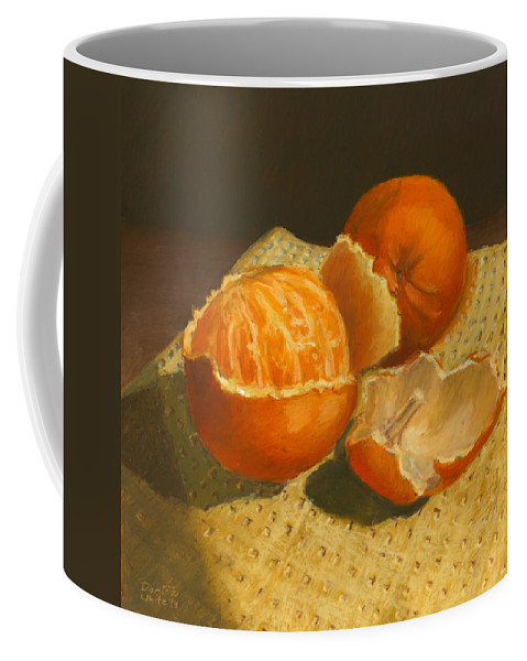 Orange Coffee Mug featuring the drawing Oranges Still Life by Dominic White