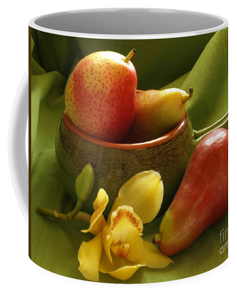 Still Life Coffee Mug featuring the photograph Orchid With Pears by Jacklyn Duryea Fraizer