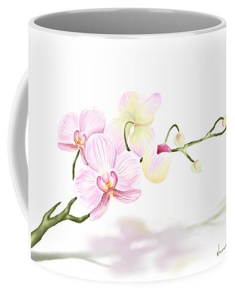 Nature Coffee Mug featuring the painting Orchidea by Veronica Minozzi