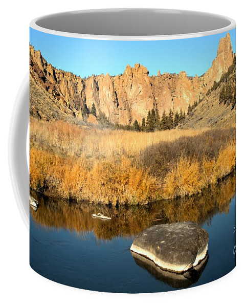 Smith Rock Coffee Mug featuring the photograph Oregon River Rock Reflections by Adam Jewell