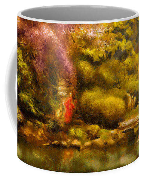 Japan Coffee Mug featuring the digital art Orient - The Japanese Garden by Mike Savad