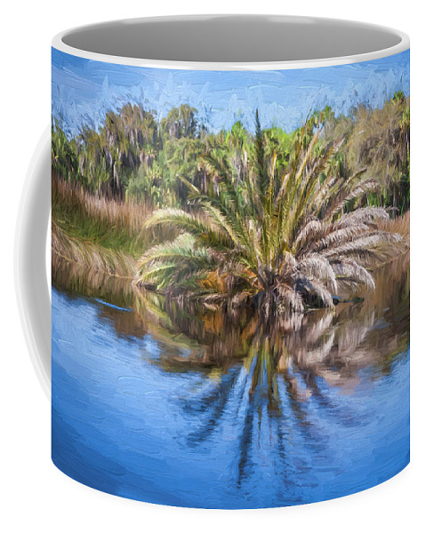 Ormond Scenic Loop Coffee Mug featuring the photograph Ormond Scenic Loop Florida Palm Tree Painted by Rich Franco