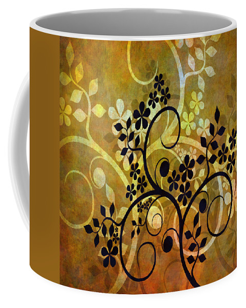 Intricate Coffee Mug featuring the mixed media Ornamental 1 Version 2 by Angelina Tamez