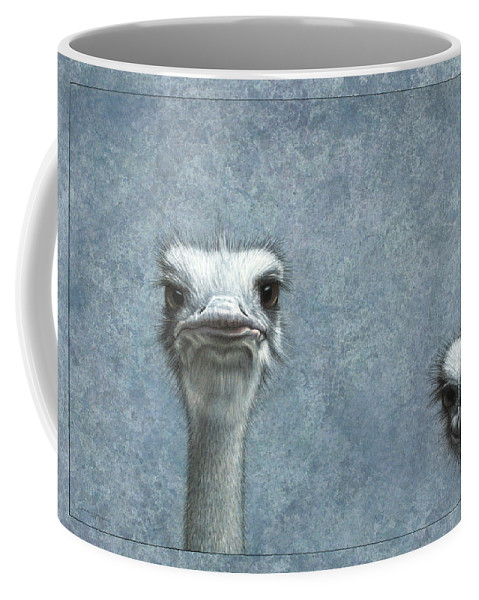 Ostriches Coffee Mug featuring the painting Ostriches by James W Johnson