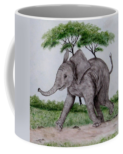 Elephant Coffee Mug featuring the painting Out For A Walk by Sandra Maddox