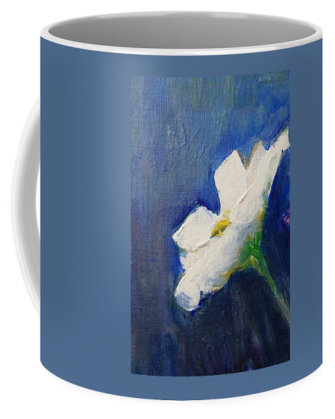Floral Coffee Mug featuring the painting Out Of The Blue by Jane See