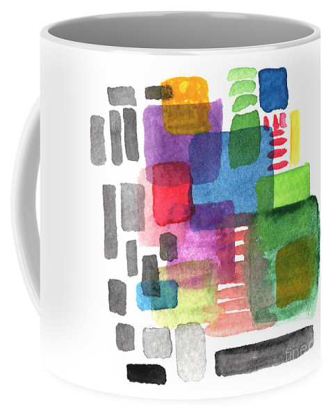Squares Coffee Mug featuring the painting Out Of The Box by Linda Woods