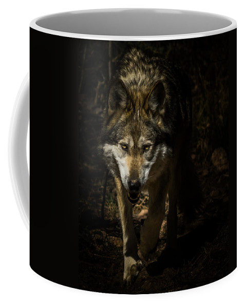 Wolf Coffee Mug featuring the photograph Out Of The Dark by Ernie Echols