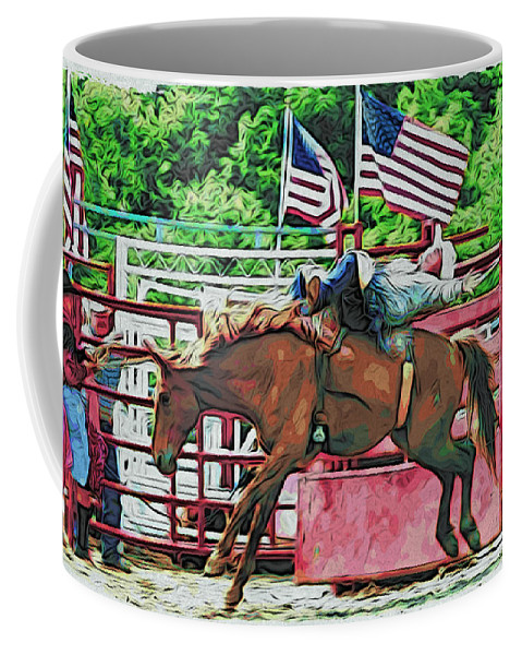Bronc Riding Coffee Mug featuring the photograph Out The Gate by Alice Gipson