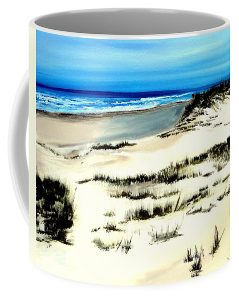 Outer Banks Coffee Mug featuring the painting Outer Banks Sand Dunes Beach Ocean by Katy Hawk
