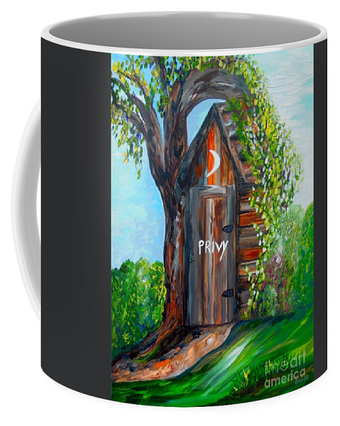 Out House Coffee Mug featuring the painting Outhouse - Privy - The Old Out House by Eloise Schneider