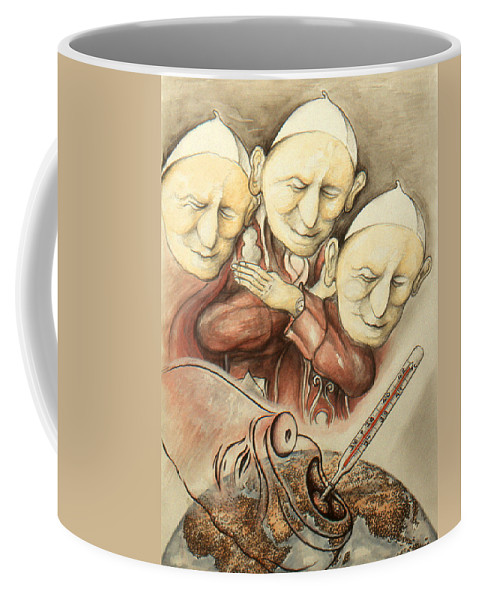 Cartoon+art Coffee Mug featuring the drawing Over-pope-ulation - Cartoon Art by Peter Potter