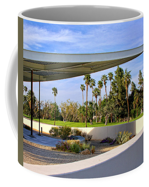 Palm Springs Coffee Mug featuring the photograph OVERHANG Palm Springs Tram Station by William Dey