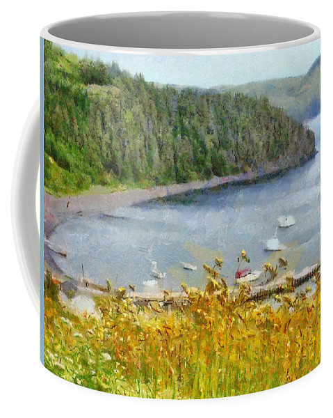 Canadian Coffee Mug featuring the painting Overlooking the Harbor by Jeffrey Kolker