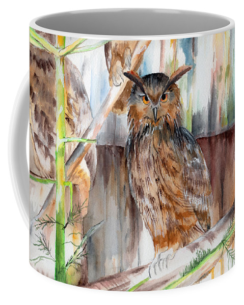 Owl Coffee Mug featuring the painting Owl Series - Owl 2 by Judith Rice