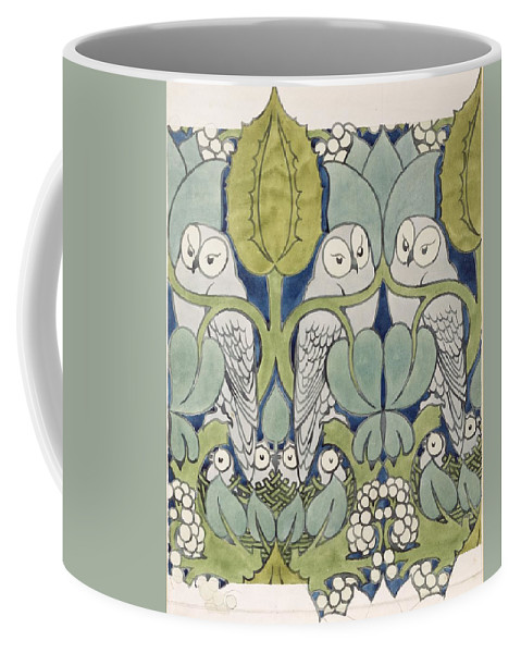 Textile Or Wallpaper Design Coffee Mug featuring the painting Owls, 1913 by Charles Francis Annesley Voysey