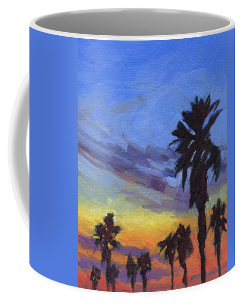 Sunset Coffee Mug featuring the painting Pacific Sunset 2 by Konnie Kim