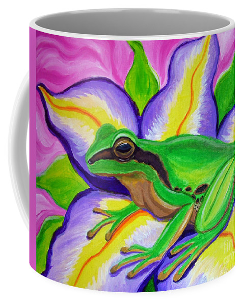 Pacific Tree Frog Coffee Mug featuring the painting Pacific Tree Frog And Flower by Nick Gustafson