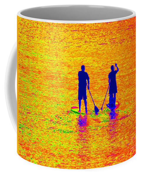 Pop Art Coffee Mug featuring the photograph Paddle Board Paradise by Ed Weidman